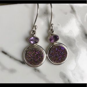 Earrings Titanium Aura Druzy, Amethyst & SS